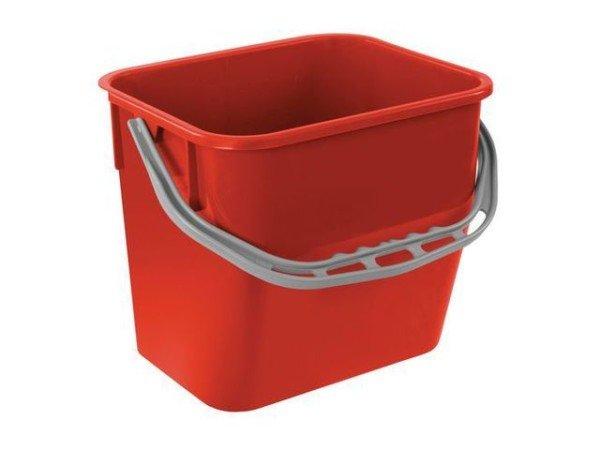 Seau Rectangulaire Rouge 12 L pour chariot