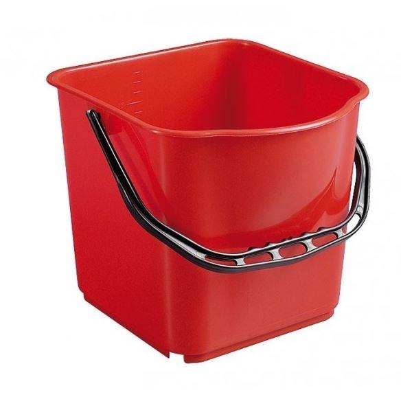 Seau Carré Rouge 15 L pour chariot