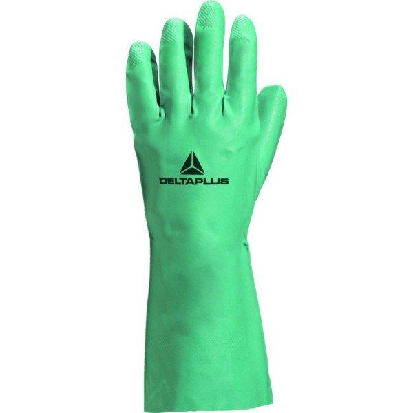 Gant Nitrile Vert flocké coton taille T6