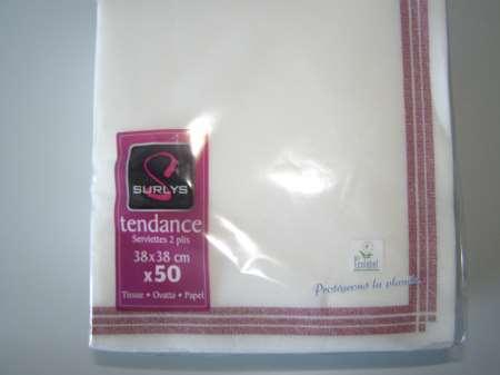 Serviette 38x38 TENDANCE Blanche Liseré BORDEAUX