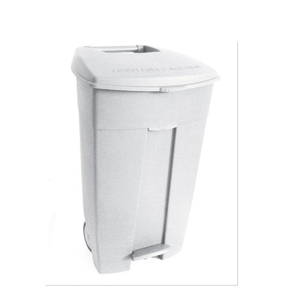 Collecteur de déchets à pédale 120L Blanc HACCP
