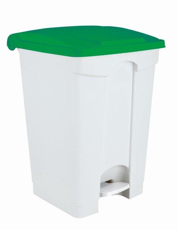 Collecteur de déchets à pédale 70L Blanc et Vert HACCP