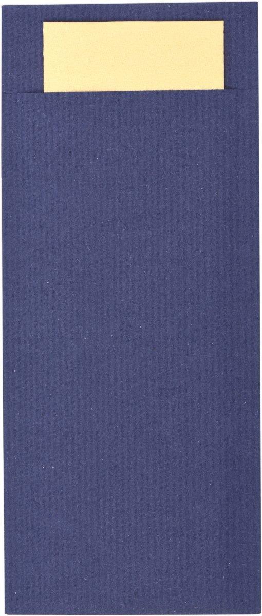 Pochette à Couvert Bleu + Serviettes Ivoire