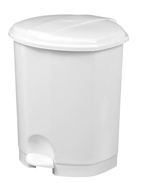 Poubelle 11L à pédale PRIMA plastique BLANC
