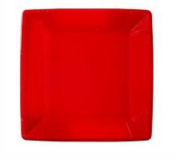 Assiette plate carrée carton 23cm ROUGE