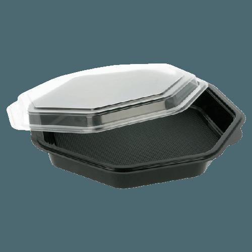 Assiette noire octogonale avec couvercle