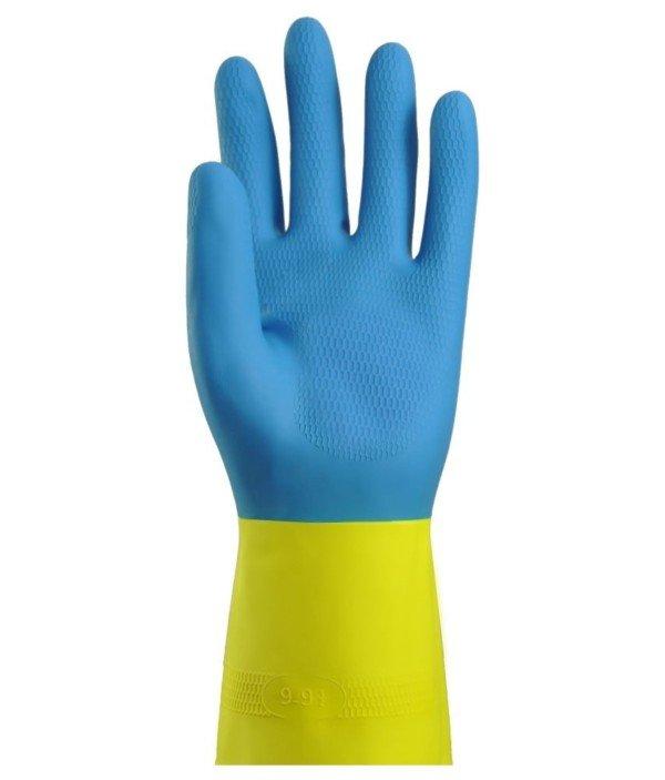Gant de ménage latex flocké bicolore bleu/jaune Taille 6