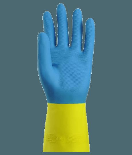 Gant de ménage latex flocké bicolore