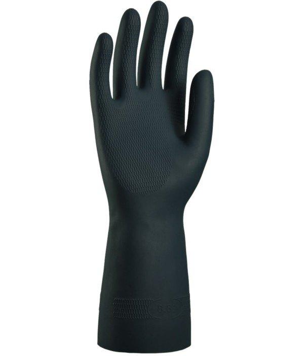 Gant Néoprène Noir flocké coton - taille 9