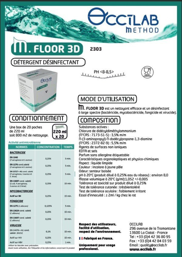 M.FLOOR 3D Désinfectant Virucide